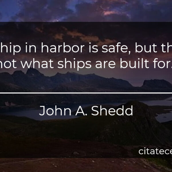 """""""A ship in harbor is safe, but that's not what ships are built for."""""""