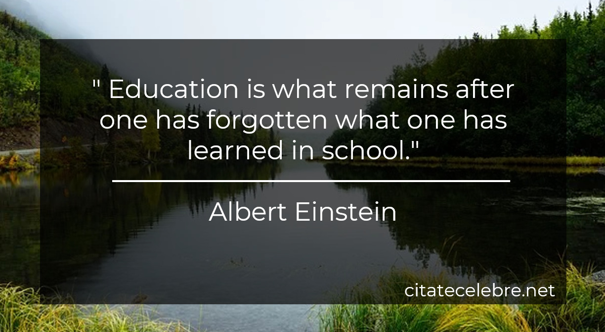 """"""" Education is what remains after one has forgotten what one has learned in school."""""""