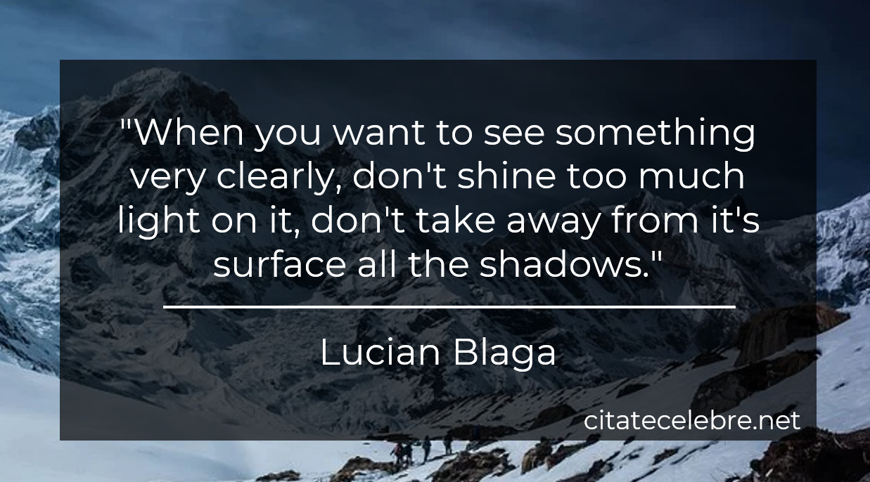 """""""When you want to see something very clearly, don't shine too much light on it, don't take away from it's surface all the shadows."""""""