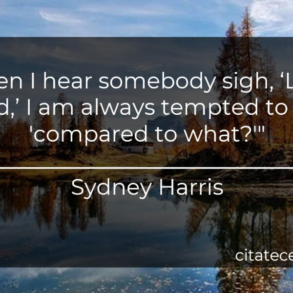 """""""When I hear somebody sigh, 'Life is hard,' I am always tempted to ask, 'compared to what?'"""""""